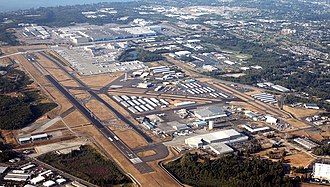 Mukilteo, Washington - Aerial view of Paine Field, home to the Boeing Everett Factory