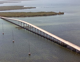 Card Sound Bridge - Aerial view in 1987