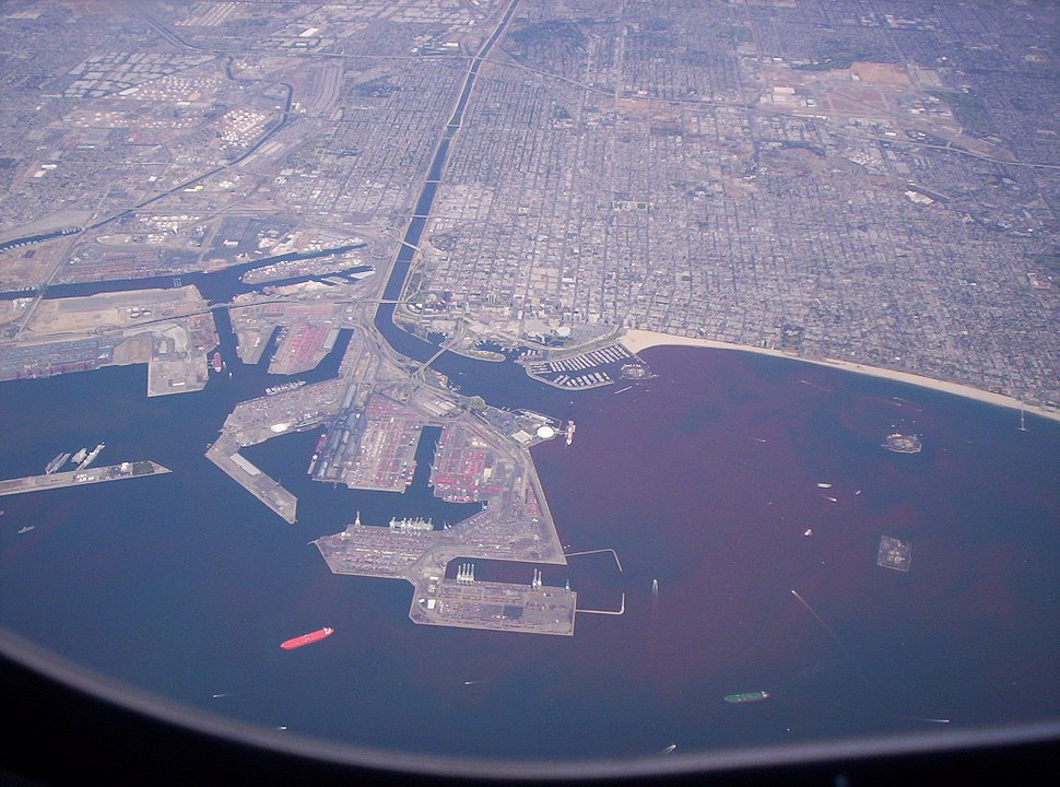 Aerial view of Port of Long Beach