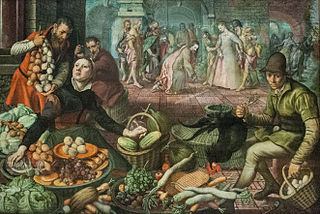 Market scene with Christ and the woman taken in adultery