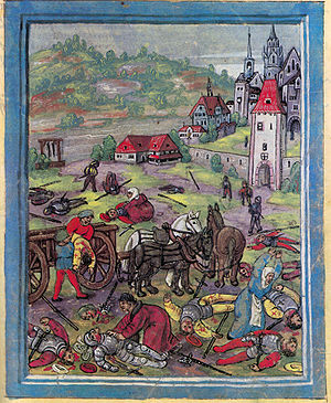 Swabian War - Women and priests retrieve the dead bodies of Swabian soldiers just outside the city gates of Constance after the battle of Schwaderloh. (Luzerner Schilling)