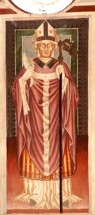 Den hellige Ulrik, bildet i kapellet St Agatha i Disentis (ca 1460)