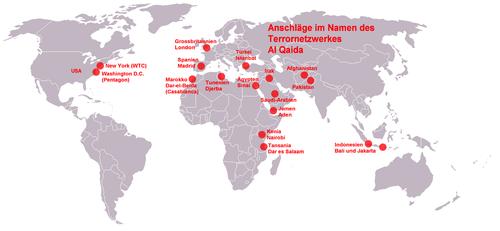 Der Terrorgruppe Al Qaida zugeschriebene Anschläge