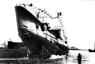 Italian submarine Alagi - Image: Alagi at Monfalcone