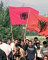Albanian demonstrators with Albanian National Flags (2000).jpg