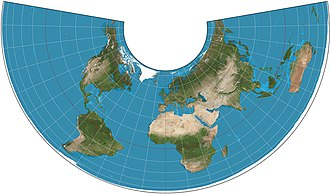 Albers projection - Albers projection of the world with standard parallels 20°N and 50°N.