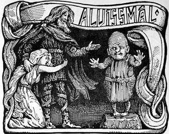 Alvíssmál - Thor converses with Alvíss while protecting his daughter. Illustration by W. G. Collingwood