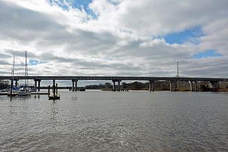Altamaha River - Altamaha River on the border of McIntosh and Glynn Counties, Georgia, USA:  The bridge is over US Highway 17.