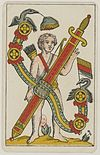 Aluette card deck - Grimaud - 1858-1890 - Ace of Swords.jpg