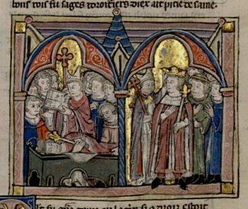 The death of Amalrich (left) and the coronation of Baldwin