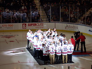 Rochester Americans - Americans alumni in an on-ice ceremony before the 2011 home opener