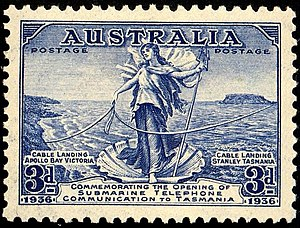 Amphitrite - Amphitrite on 1936 Australian stamp commemorating completion of submarine telephone cable to Tasmania