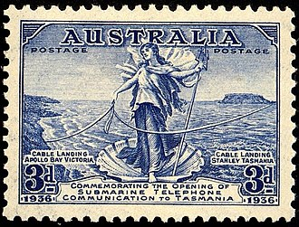 Bass Strait - Amphitrite on 1936 stamp commemorating completion of cable