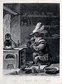 An monkey-alchemist pumps a bellows in a laboratory; alludin Wellcome V0025549.jpg