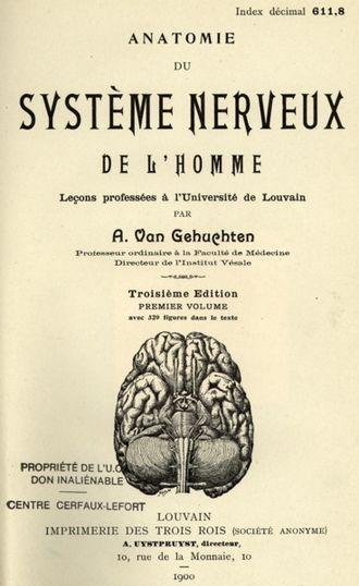 Arthur Van Gehuchten - Title page of Anatomie du Système Nerveux de l'homme (1900)