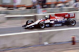 Andrea de Cesaris - De Cesaris driving for Ligier in the 1984 Dallas Grand Prix.