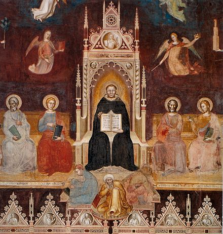 "Triumph of St. Thomas Aquinas, ""Doctor Angelicus"", with saints and angels, Andrea di Bonaiuto, 1366. Basilica of Santa Maria Novella, fresco Andrea di Bonaiuto. Santa Maria Novella 1366-7 fresco 0001.jpg"