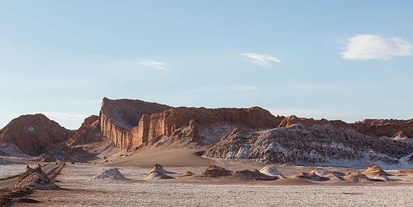 """View of """"the Amfitheater"""", a rock formation in Valle de la Luna (in Spanish """"Moon Valley""""), Atacama Desert, Chile."""