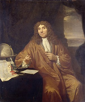 The Geographer - Vermeer's possible model, Anthonie van Leeuwenhoek, painted two decades later by Jan Verkolje