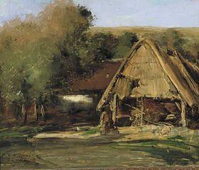 Une Grange dans un paysage avec des arbres