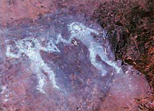 Ancient astronauts - Petroglyphs from Val Camonica, Italy. Ancient astronaut proponents assert that these pictures resemble modern astronauts during EVA.