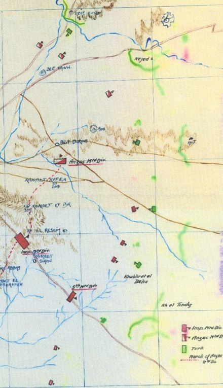 Positions of the mounted screen (in red) and hostile forces (in green) at 14:00 AnzacMD3.17WDA54.37det.jpeg
