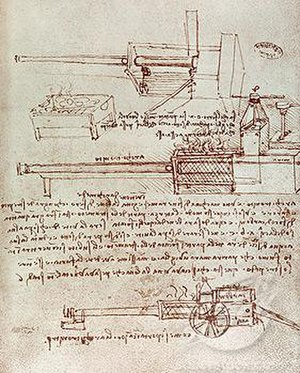 Architonnerre - Leonardo da Vinci's pen and ink drawing of the Architonnerre/Architronito