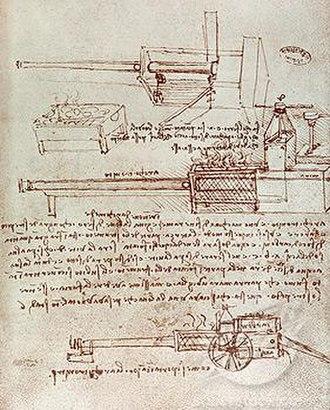 Architonnerre - Leonardo da Vinci's pen and ink drawing of the Architonnerre/Architronito.