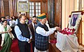 Arjun Ram Meghwal paying floral tributes at the portrait of Late Union Minister, Shri Ananth Kumar, at the Condolence Meeting, at Parliament House, in New Delhi.JPG