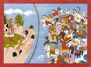 Kirātārjunīya - Image: Arjuna celestials