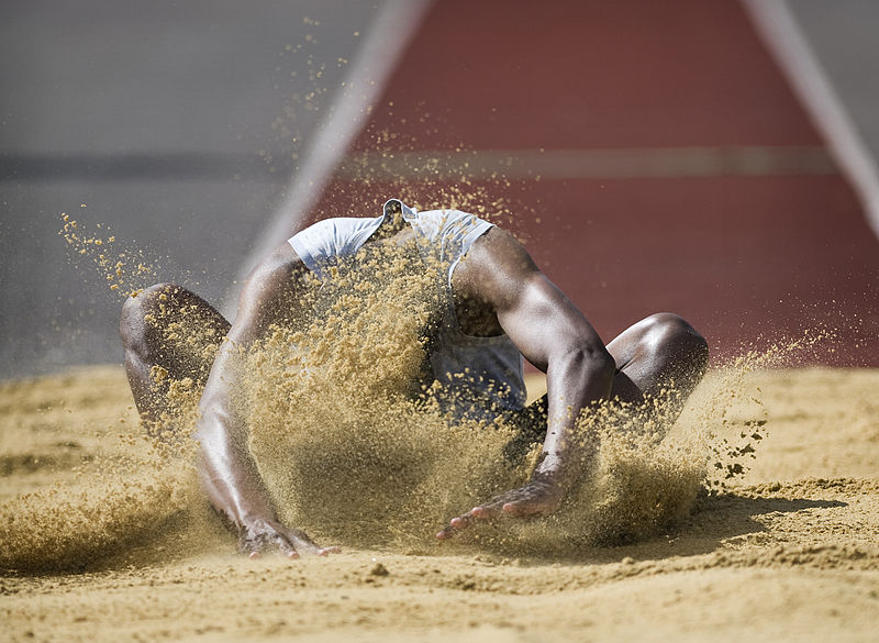 File:Army Athletics Long Jumper at The Inter Corps Athletics Competition at Tidworth, Wiltshire MOD 45152793.jpg