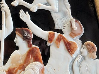 Drusus Caesar - Detail from the Great Cameo of France depicting Livia (left), Drusus (center), and Agrippina the Elder (right).