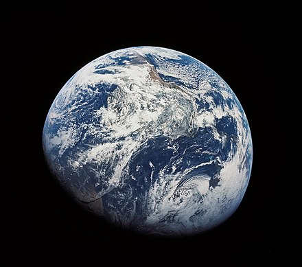 The first image taken of the entire Earth by astronauts was shot during the Apollo 8 mission As08-16-2593.jpg