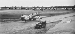 RAF Ashford - 512th and 514th Fighter Squadron P-47s prepare to take off on runway 15-33. Note aircraft painted in D-Day invasion markings