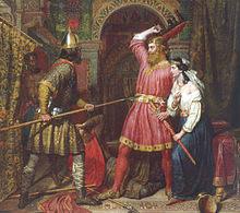 A painting in which one man points a spear at another, while a woman grasps the second man's sword