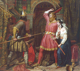Helmichis - Alboin is killed by Peredeo while Rosamund steals his sword, in a 19th-century painting by Charles Landseer