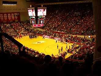 Indiana Hoosiers men's basketball - An interior view of Assembly Hall's Branch McCracken Court.