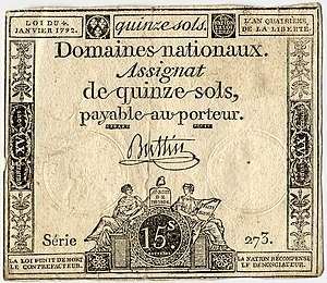 Assignat -  Assignat of 4 Jan 1792, still bearing Royal markings: 15 sols