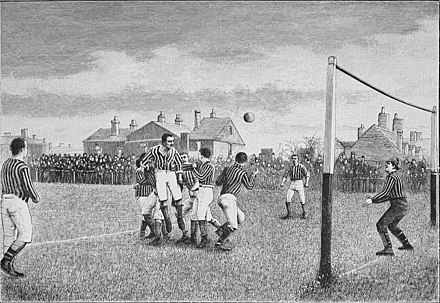 Representation of a football match from the book Athletics and football, 1894 Athletics and football (1894) (14777984175).jpg