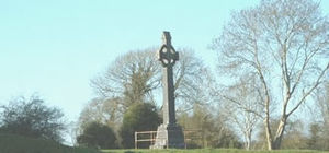 Williamite War in Ireland - Memorial cross on the site of the Battle of Aughrim, where 7000 men died on 12 July 1691 and the Jacobite cause in Ireland was defeated