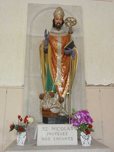 Aulnois sous Vertuzey (Meuse) Église Saint-Sébastien statue Saint Nicolas