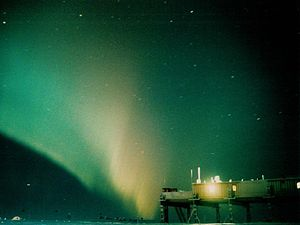 Halley Research Station - Aurora Australis over Halley V Winter 1998