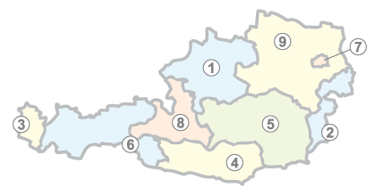 Austria states numbered