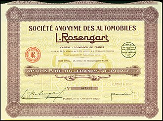 Automobiles L. Rosengart - Share of the S.A. des Automobiles L. Rosengart, issued 1. October 1929