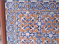 Azulejos de padr�o com faixa no Pa�o de S�o Cipriano, Tabuadelo.