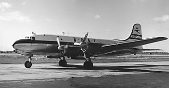 "British Overseas Airways Corporation - BOAC DC-4M-4 Argonaut G-ALHS ""Astra"" at London Airport (Heathrow) in September 1954"