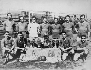 Pedro Calomino - Calomino (down, 2nd fltr) with the Boca Juniors team that won four titles in 1919.