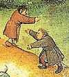 Detail from Pieter Brueghel the elders' Children's Games