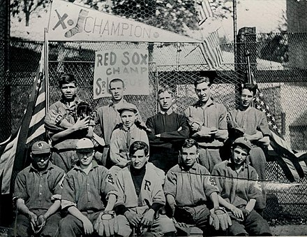 Ruth (top row, left, holding a catcher's mitt and mask) at St. Mary's, 1912 Babe Ruth - St. Mary's Industrial School 1912.jpg