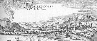 Bad Sooden-Allendorf - Allendorf - excerpt from the Topographia Hassiae by Matthäus Merian 1655